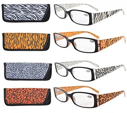 Eyekepper Animal Print Temples Spring Hinge Plastic Reading Glasses (4 Pack Mix) Women - Glasses Animal Print