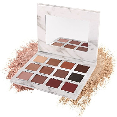 Discount 12 Colors Marble Eyeshadow Palette,Cocohot Waterproof Shimmer Matte Eye Shadow Pallet Kit Polarized Color With Mirror (A)