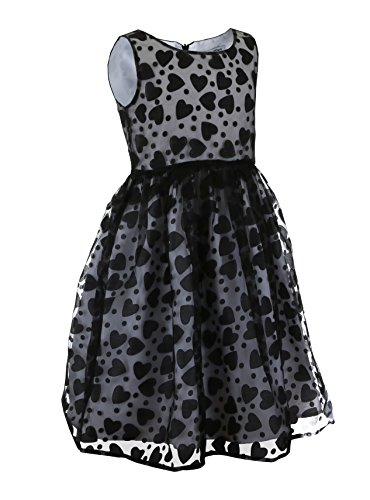 Emma Riley Girls' Heart Party Dress 14 Black