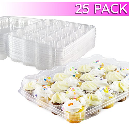 Chefible Premium 24 Mini Cupcake Container | Extremely Durable Cupcake Boxes | Mini Cupcakes, 25 Pack