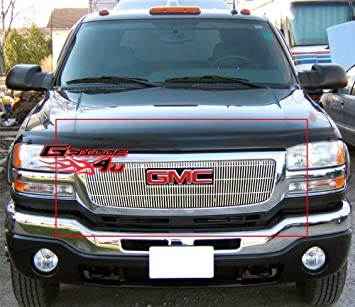 Chevy 03-06 Silverado Avalanche Black Front Grille 1pc Center Verticle Style