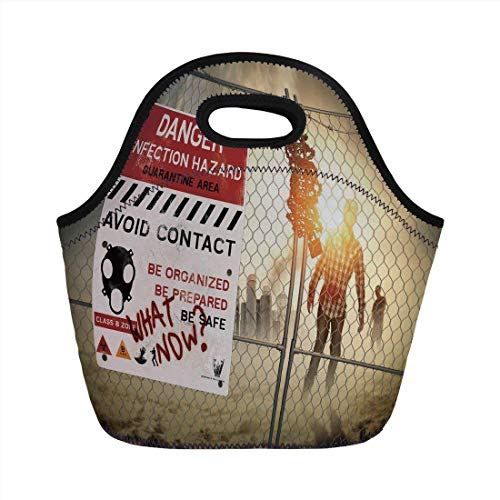 Portable Bento Lunch Bag,Zombie Decor,Dead Man Walking Dark Danger Scary Scene Fiction Halloween Infection Picture,Multicolor,for Kids Adult Thermal Insulated Tote -