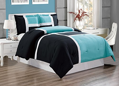 Panel Set King (GrandLinen 3 piece AQUA BLUE/BLACK/WHITE Goose Down Alternative Color Panel Oversize Comforter Set, KING size Microfiber bedding, Includes 1 Oversize Comforter and 2 Shams)