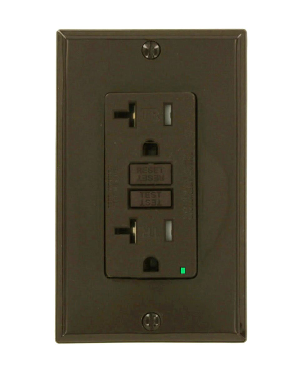 Leviton X7899 SmartlockPro Slim GFCI Tamper-Resistant Receptacle with LED Indicator, 20-Amp, Brown