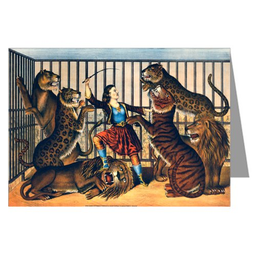 Lion Tamer Horse (Vintage Art Cards Single Circus Poster of Woman Lion Tamer in the cage c1874 Greeting)