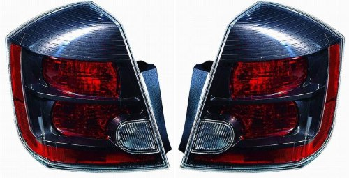 2007-2008-2009 Nissan Sentra SE-R & Spec-V 2.5L Taillight Taillamp Rear Brake Tail Light Lamp (Quarter Panel Outer Body Mounted) Pair Set Right Passenger AND Left Driver Side (07 08 09) (Parts Tail Set Body)