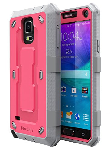 E LV Hybrid Armor Protection Defender Case Cover with Built-in Screen Protector for Samsung Galaxy Note 4 - Red Melon/ Gray