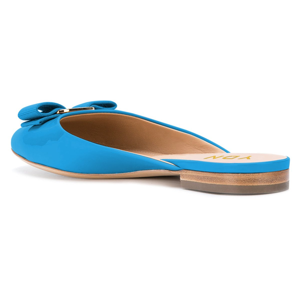 YDN Women Round Toe Low Heel Flats Slip on Bowknot Slippers Summer Slide Clog Shoes Blue 11 by YDN (Image #3)