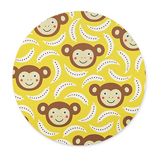 (Newing Lovely Monkey And Banana mouse pad, Natural Rubber Round Mouse Pad, Quality Creative Wrist-protected Wristbands Personalized Desk, Round Mouse Pad)