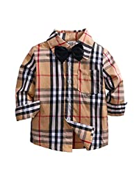 Fairy Baby Little Boys Gentleman Outfit Cotton Plaid Shirt Long Sleeve T-Shirt+Bowtie