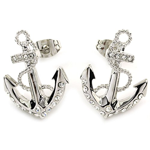 ver Diamante Crystal Anchor Women Earrings Studs (Anchor Stud Earrings)