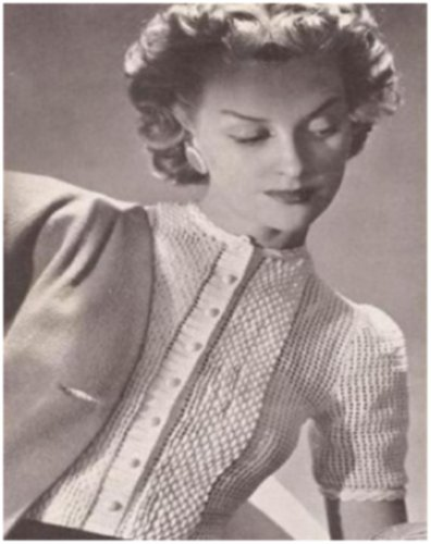 Glamour Vintage Blouse (#1958 TUCKED GLAMOUR VINTAGE CROCHET PATTERN)