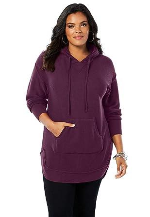 e254ceba01b Roamans Women s Plus Size Hooded Sherpa Lined Sweater Tunic at Amazon Women s  Clothing store