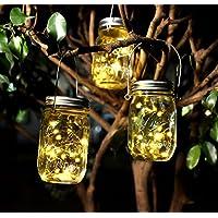 Mason Lampe en Bocal solaire, avec couvercle pour décoration de jardin et de maison