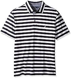 Nautica Men's Big and Tall Short Sleeve Stripe Premium Cotton Polo Shirt, True Navy, LT
