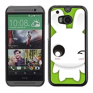 TopCaseStore / la caja del caucho duro de la cubierta de protección de la piel - Cute Winking Bunny Rabbit - HTC One M8