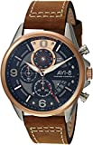 AVI-8 Men's 'Hawker Harrier II' Quartz Stainless Steel and Leather Aviator Watch, Color:Brown (Model: AV-4051-01)