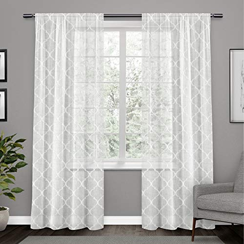 Exclusive Home Aberdeen Sheer Woven Trellis Embellished Hidden Tab Top Curtain Panel Pair, White, 54x96