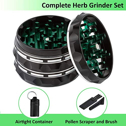 Herb Mill Spice - Herb Grinder 4 Piece 2.3 Inch - Metal Spice Grinders Set with Mini Scraper and Brush and Storage Container - Premium Aluminum Kitchen Mill for Spices - Fine Tea Shredder - Manual Dry Herbs Crusher