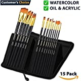 Acrylic Paint Brush Set of 15 – Best Oil Watercolor Gouache Paint Brushes - Face Body Paint Brushes Kit - Artist Brush Set - Art Paint Brushes - Paintbrushes for Kids Beginners Teens Men Women Adults