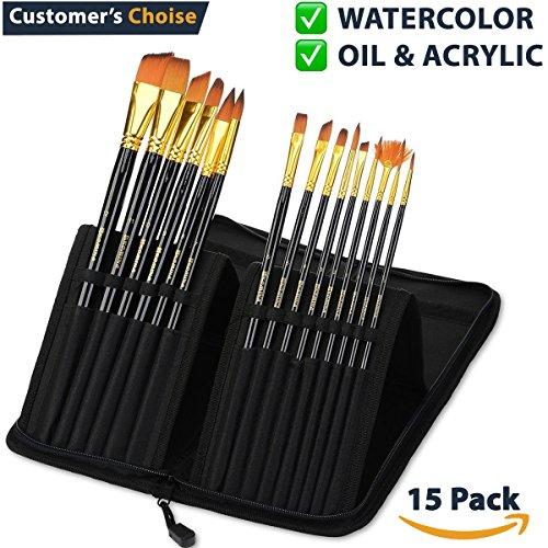 Acrylic Paint Brush Set of 15 – Best Oil Watercolor Gouache Paint...