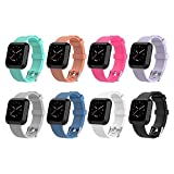 Greatwelly for Fitbit Versa Bands Women Men, Adjustable Soft Silicone Sport Strap Replacement Wristbands, Breathable Accessories Bracelet Wrist (8-Pack, Small (5.5''-7.1''))