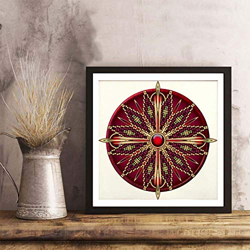 - i-zehibho-i Wall Art - Native American Rosette 13 Fashion Decor Art Print - 12x12in with Frame