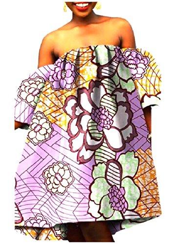 Femmes Coolred Épaule Africaine Imprimé Taille Plus Fine Et Légère Au Large Robe En Coton Violet