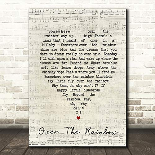 - Somewhere Over The Rainbow Script Heart Song Lyric Quote Wall Art Gift Print