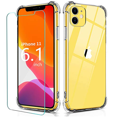 BELONGME Compatible with iPhone 11 Case,Tempered Glass Screen Protector [2Pack] with Shockproof Crystal Clear Case for…
