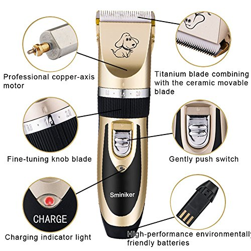 Sminiker-Rechargeable-Cordless-Dogs-and-Cats-Grooming-Clippers-Professional-Pet-Hair-Clippers-with-Comb-Guides-for-Dogs-Cats-and-Other-House-AnimalsPet-Grooming-Kit