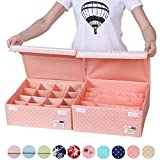 Sivin Foldable Washable Adjustable Storage Box Bra Underwear Socks Ties Closet Organizer Drawer Divider Kit with Dust-proof lids 2 Pcs/Set (Set(Bra box+16-Grid), Dot Pink)