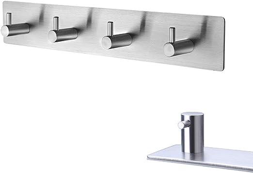 4 x  Self Adhesive Hooks Wall Mount Bathroom Kitchen Hanger of Stainless Steel