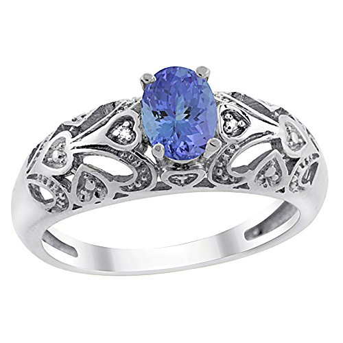14K White Gold Natural Tanzanite Ring Oval 6x4 mm Diamond Accent, size 10 ()