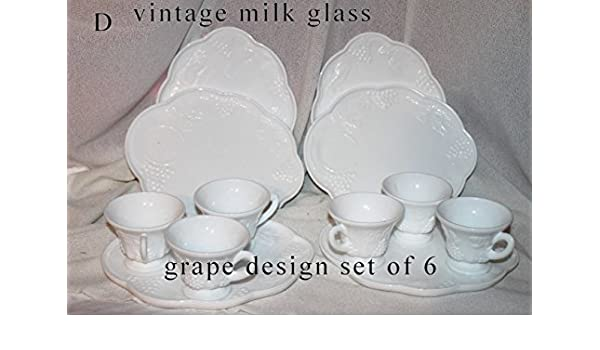 fa6d124cdd0b Amazon.com: Vintage Indiana Colony Milk Glass Set of 6 White Harvest Grape  Snack Tray and Cup Sets - (6 Cup & Tray Sets): Kitchen & Dining
