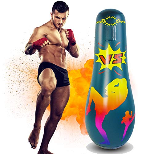 AuGcGoGo Inflatable Punching Bag- 65 Inch Standing Boxing Bag for Kids, Free Standing Boxing Toy for Kids…