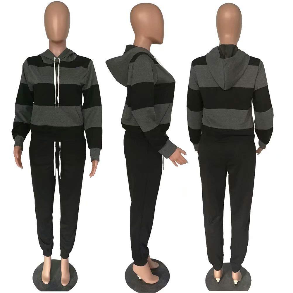 ThusFar Womens Casual Two Piece Outfits Stripes Sweatsuit Tracksuit Kangaroo Pocket Hoodies Sweatshirt Drawstring Pants