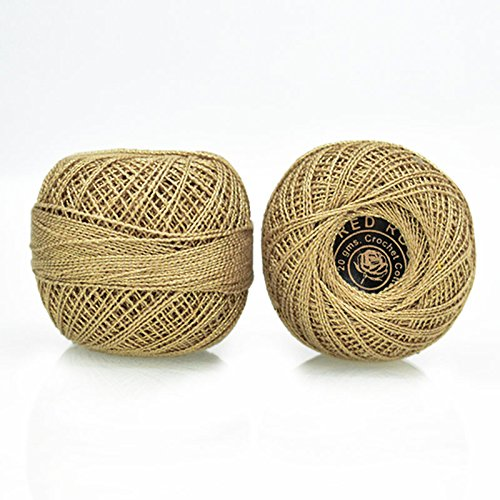 Crochet Cotton Thread with Metallic Yarn size 20 for weaving, knitting and craft, 1 Ball, 200 Yard of 100% cotton threads per roll, Factory made thread consistent in color and (Metallic Crochet)