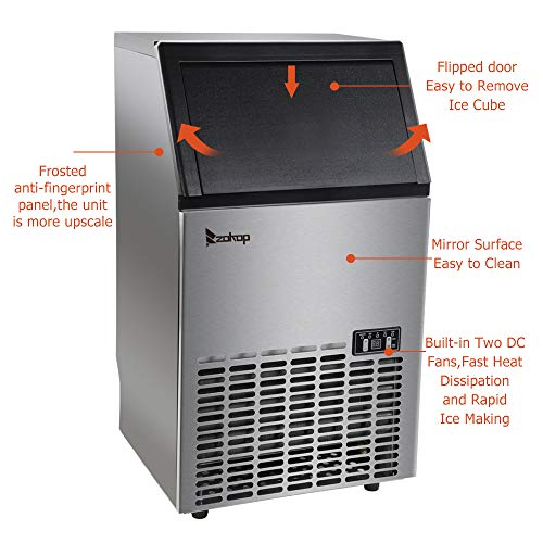 ZOKOP HZB-45 270W-500W 99Lbs 115V 60Hz Stainless Steel Commercial Ice Maker Black US Plug by ZOKOP (Image #5)