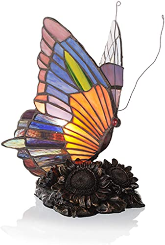 River of Goods 8.75-Inch Tiffany Style Stained Glass Butterfly Accent Lamp