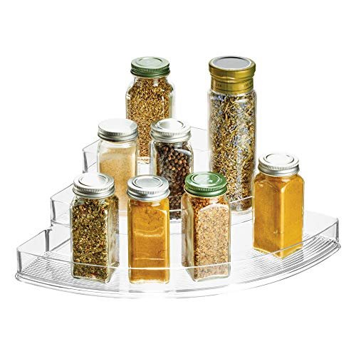 interDesign 61930 Linus Plastic Stadium Spice Racks, 3-Tiered Corner Kitchen, Pantry, Bathroom, Vanity, Office, Craft Room Storage Organization, 14