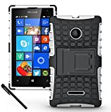 Microsoft Nokia Lumia 435 Case - Tough Rugged Dual Layer Protective Case with Kickstand for Microsoft Nokia Lumia 435 - White