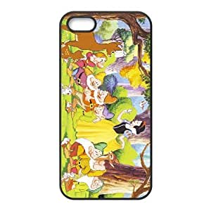 Special Design Case iPhone 5, 5S Black Cell Phone Case Qhzok Snow White and Seven Dwarfs Durable Rubber Cover