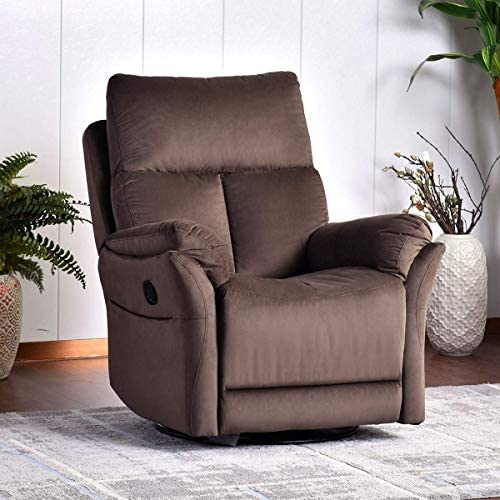 Rocker Recliner Chair, Soft Fabric Swivel Glider Recliner Seat, Over-Stuffed Manual Recliner Sofa for Living Room, Home Theater Seating, Ergonomic Lounge 360 Degree Swivel Rocker Brown
