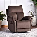 Rocker Recliner Chair, Soft Fabric Swivel Glider Recliner Seat, Over-Stuffed Manual Recliner Sofa