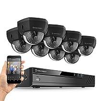 Amcrest 8CH Plug & Play H.265 4K NVR 4K (8MP) 3840x2160 Security Camera System, (8) x 8-Megapixel 2.8mm Wide Angle Lens Weatherproof Metal Dome POE IP Cameras, 98ft Nightvision, (Black)