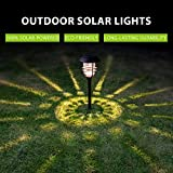 Solpex 4 Pack Solar Pathway Lights, Glass Metal