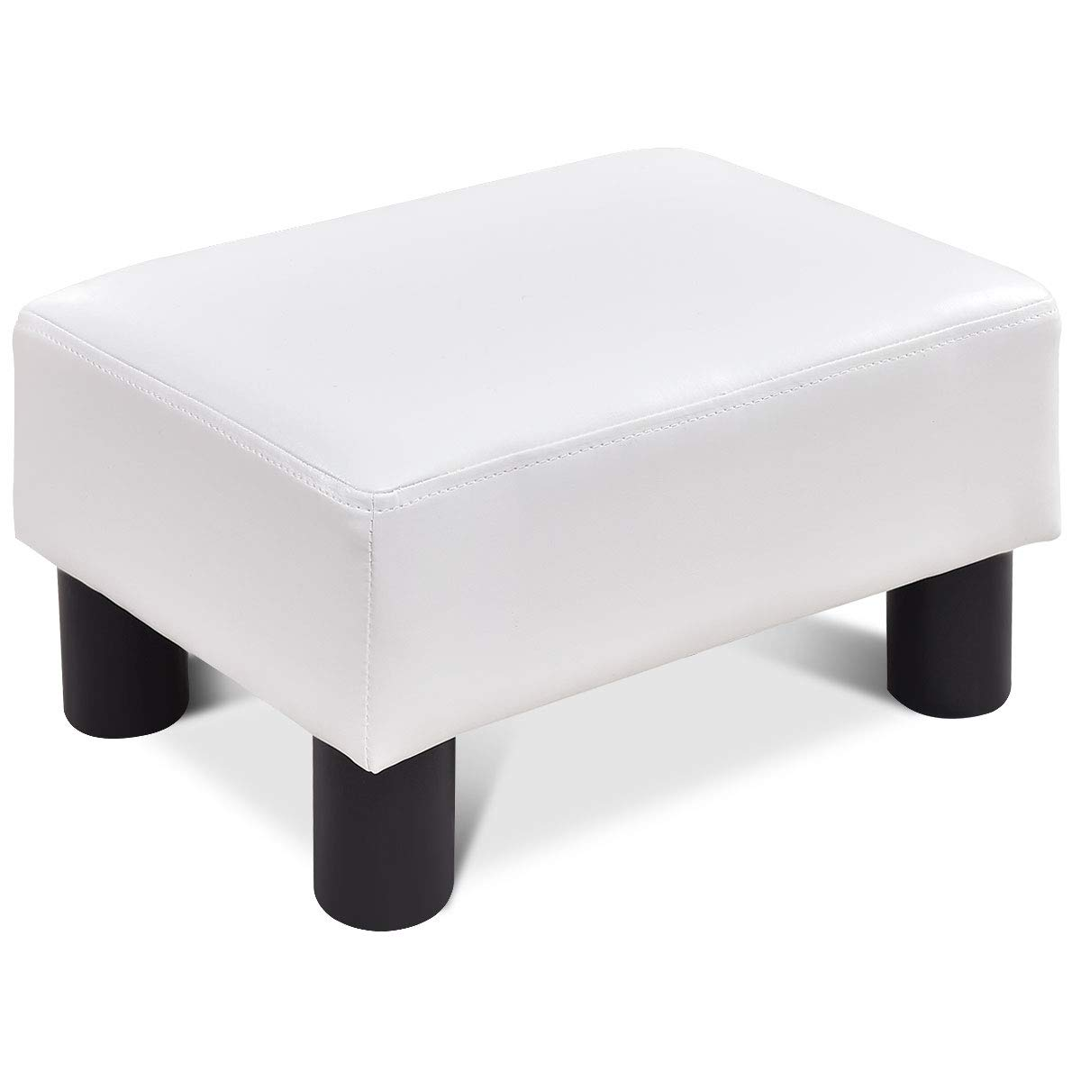 Giantex 16 Small Footstool PU Leather Ottoman Footrest Modern Home Living Room Bedroom Rectangular Stool with Padded Seat Plastic Wood Legs White