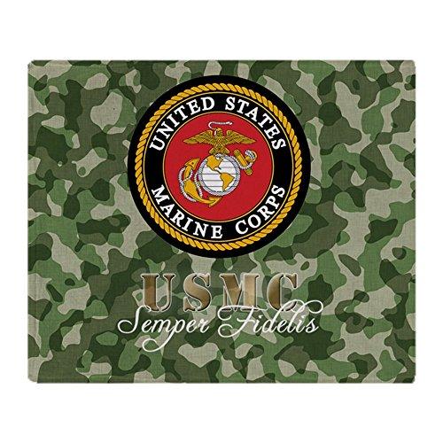 Stadium Throw Blanket - CafePress - Camo Marine Corps Logo - Soft Fleece Throw Blanket, 50
