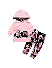 Baby Girl Boys 2pcs Set Outfit Flower Print Hoodies with Pocket Top+ Long Pants